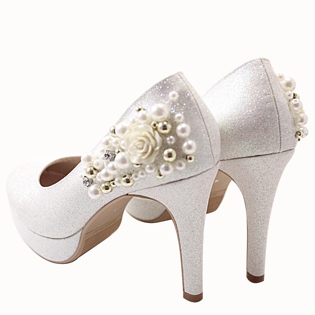 白雪公主氣質珍珠晚宴鞋