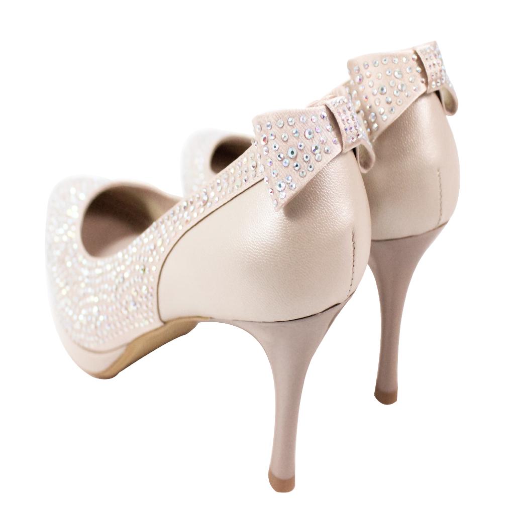 奢華風彩鑽小羊皮晚宴鞋