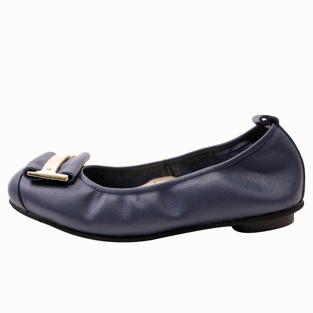 小牛皮基本款可折疊氣墊平底鞋