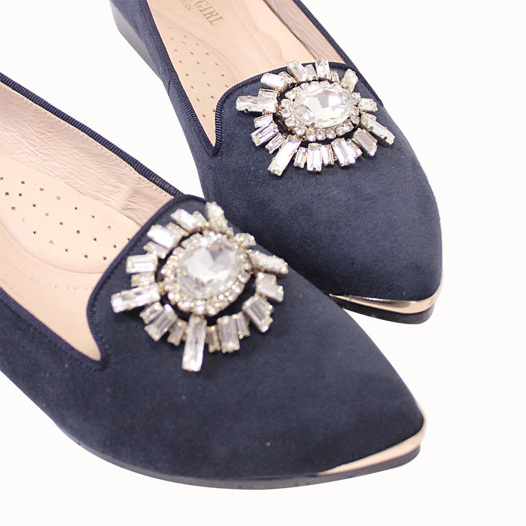 閃耀風華尖頭羊麂皮小坡平底鞋