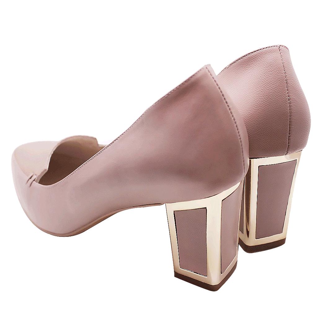 歐美時尚小羊皮拼接粗跟鞋