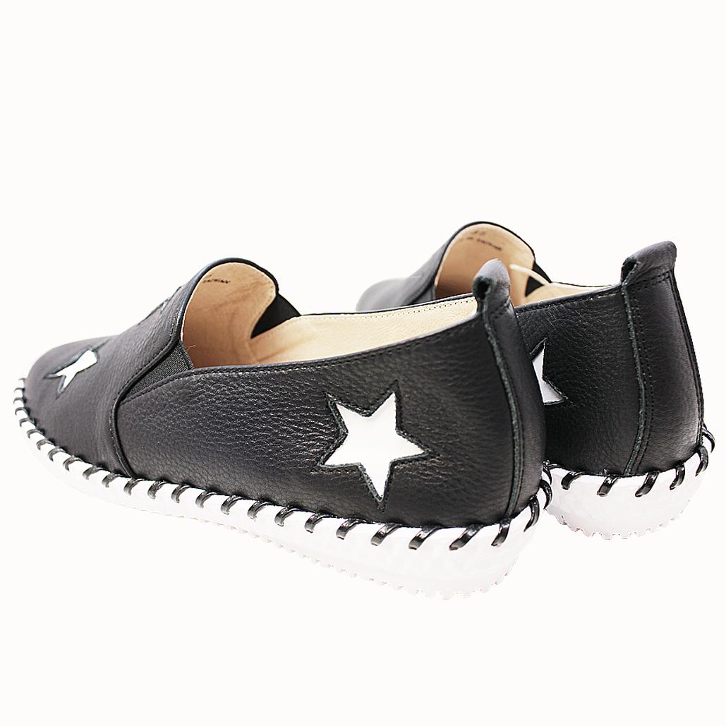 荔枝紋牛皮星星氣墊手縫平底鞋