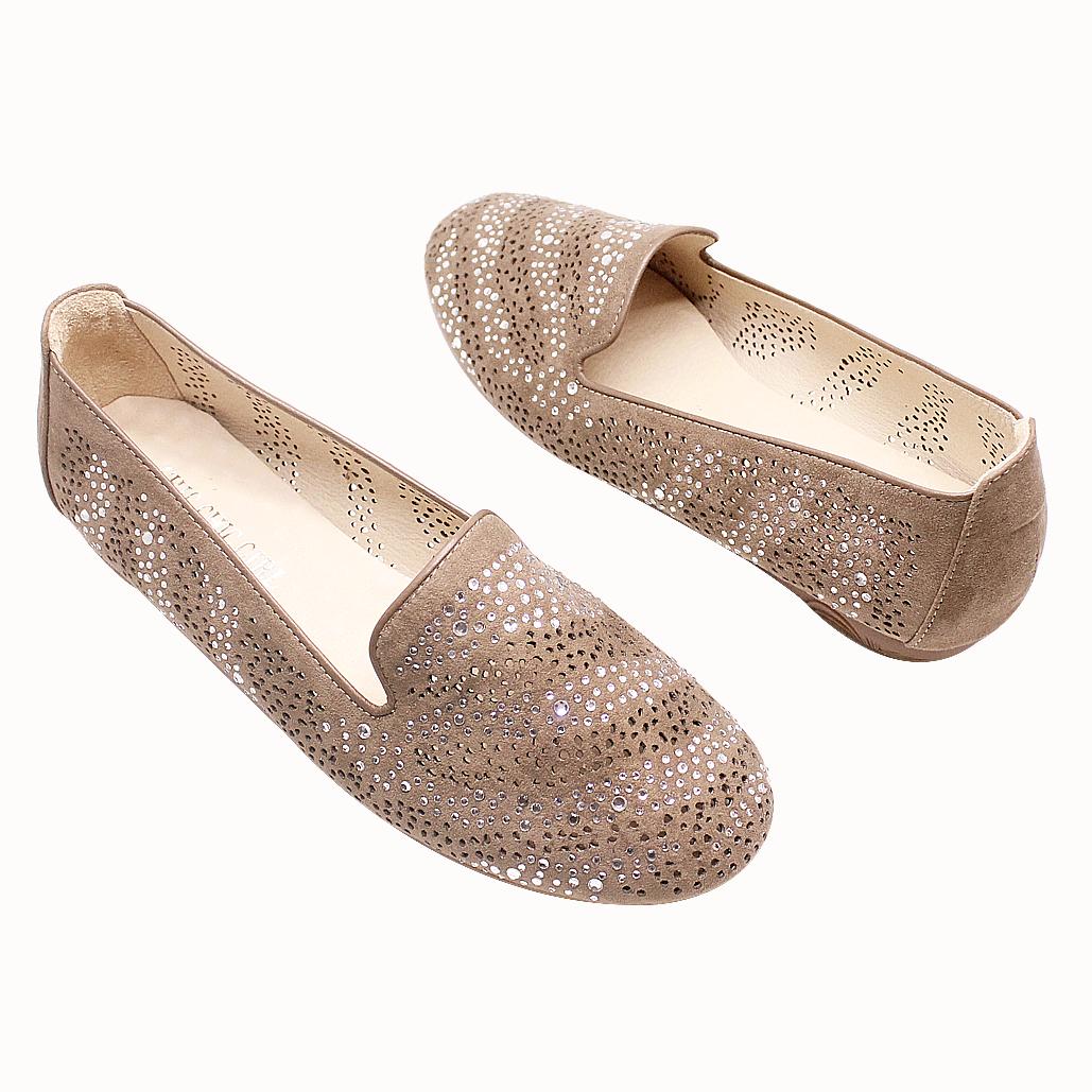 銀河星空雷射雕花貼鑽氣墊平底鞋
