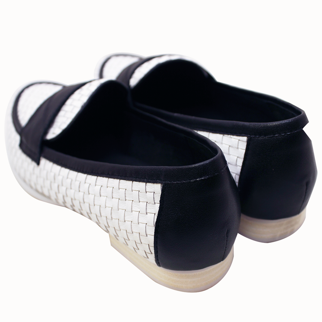香奈兒風小羊皮手工編織平底鞋