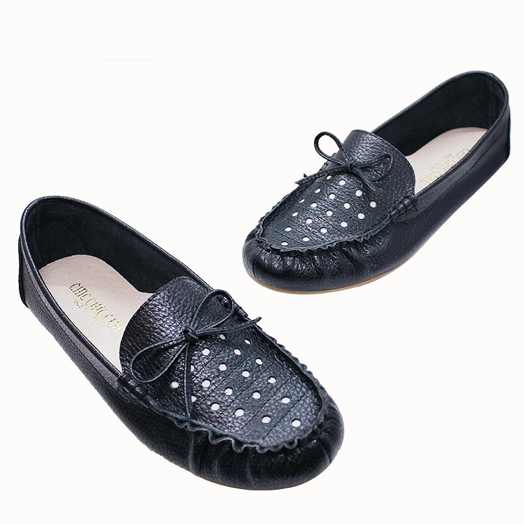 荔枝紋牛皮雙色感經典豆豆平底鞋