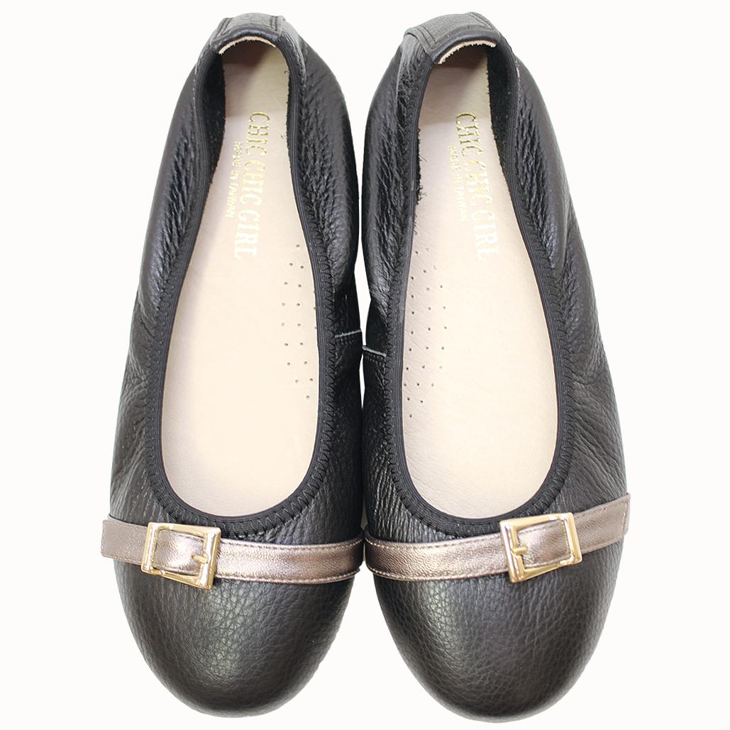 荔枝紋牛皮基本款氣墊平底鞋