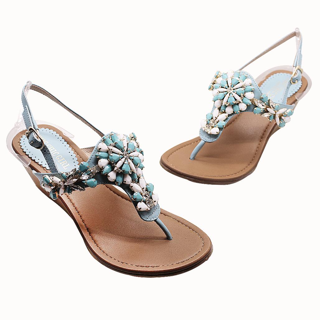 波西米亞風寶石全真皮楔型涼鞋