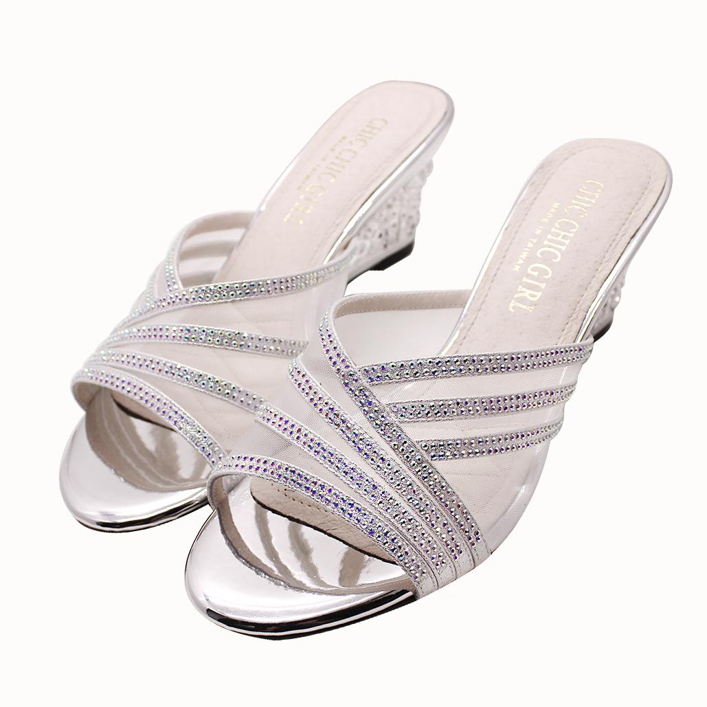 高調奢華水鑽氣墊楔型涼鞋