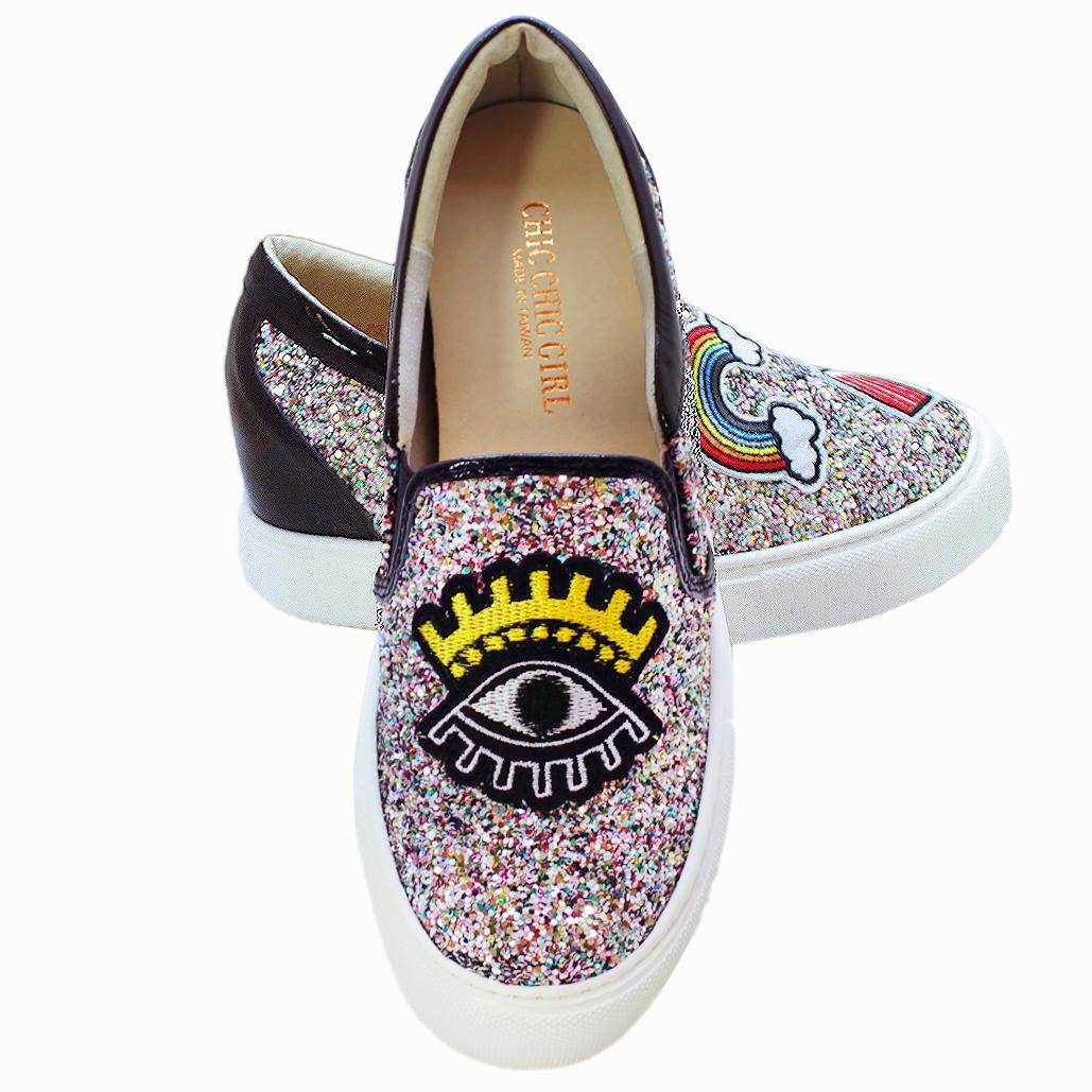 時尚不對稱輕量化厚底後增高板鞋
