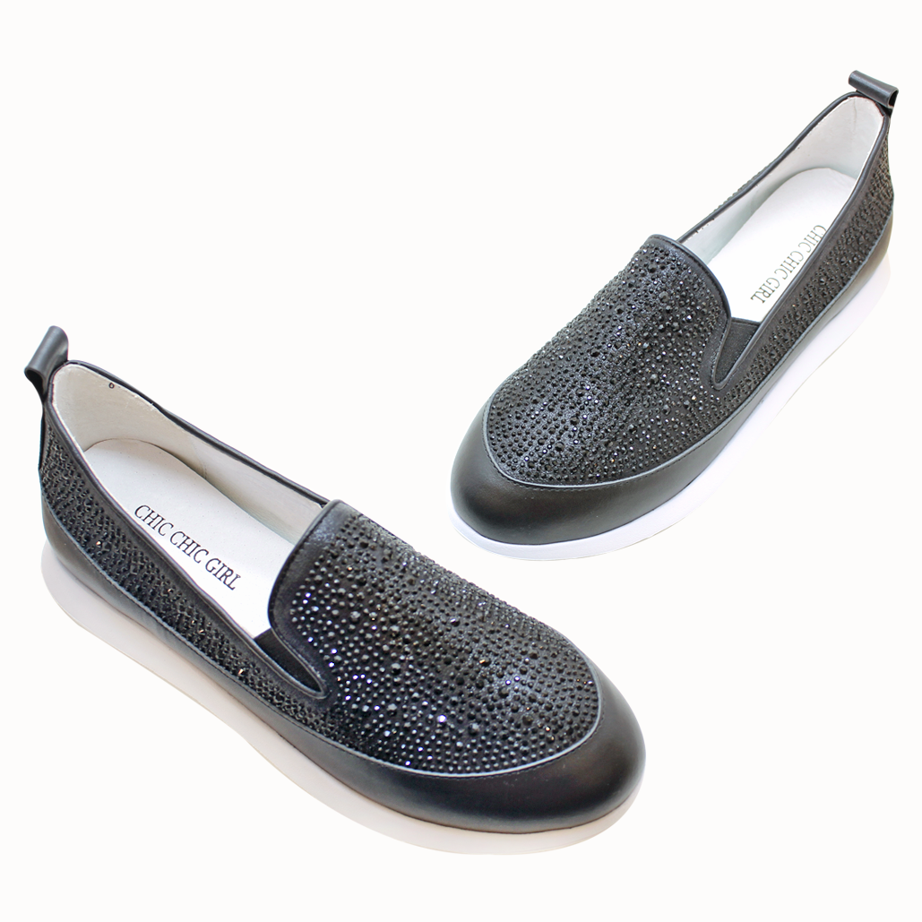 小牛皮滿鑽輕量化厚底氣墊休閒鞋