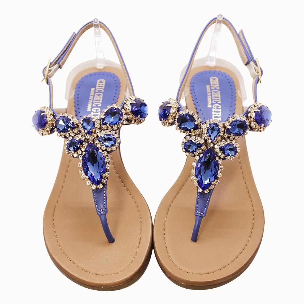 極致奢華頂級美鑽小羊皮楔型涼鞋