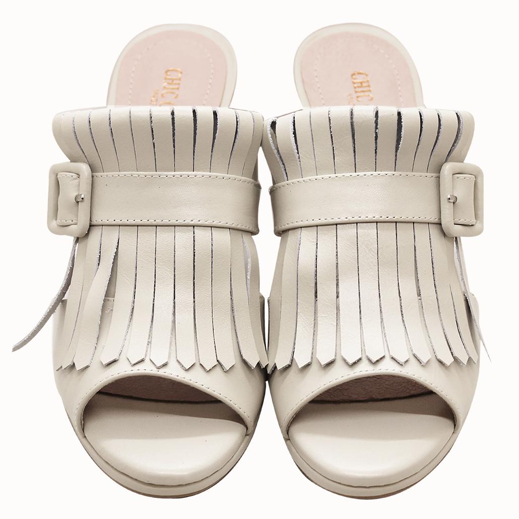 Chole風山羊皮經典流蘇高跟涼鞋