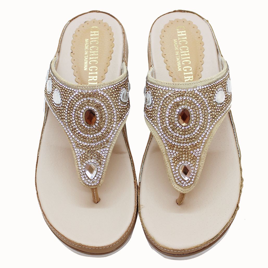 民俗風羊皮厚底輕量化夾腳涼鞋