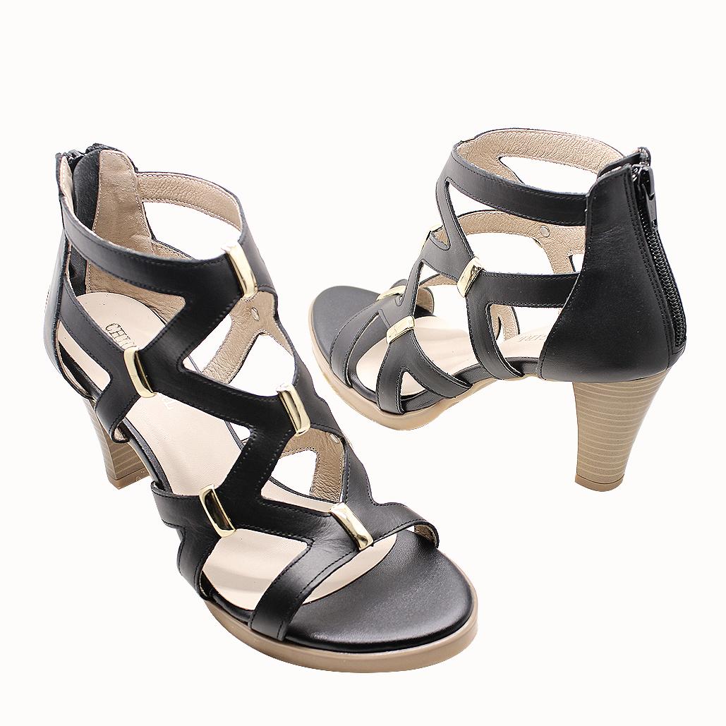 羅馬戰士小牛皮氣墊厚底涼鞋