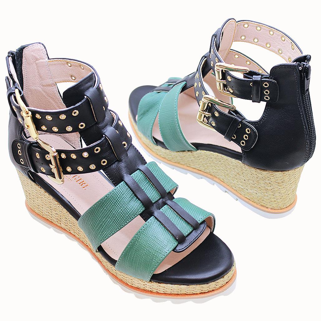 設計師款山羊皮厚底輕高楔型涼鞋