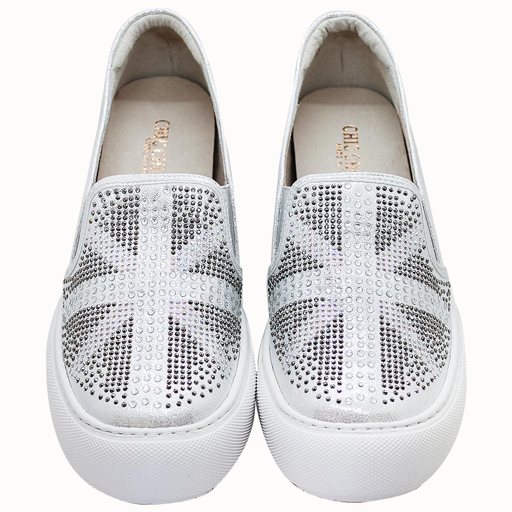 英國國旗貼鑽內增高輕量化板鞋
