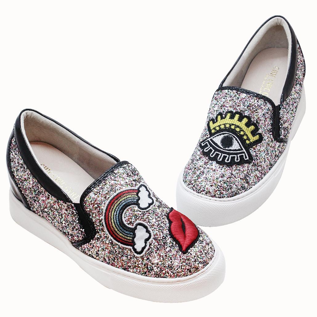 Kizandy聯名款時尚不對稱輕量化厚底後增高板鞋