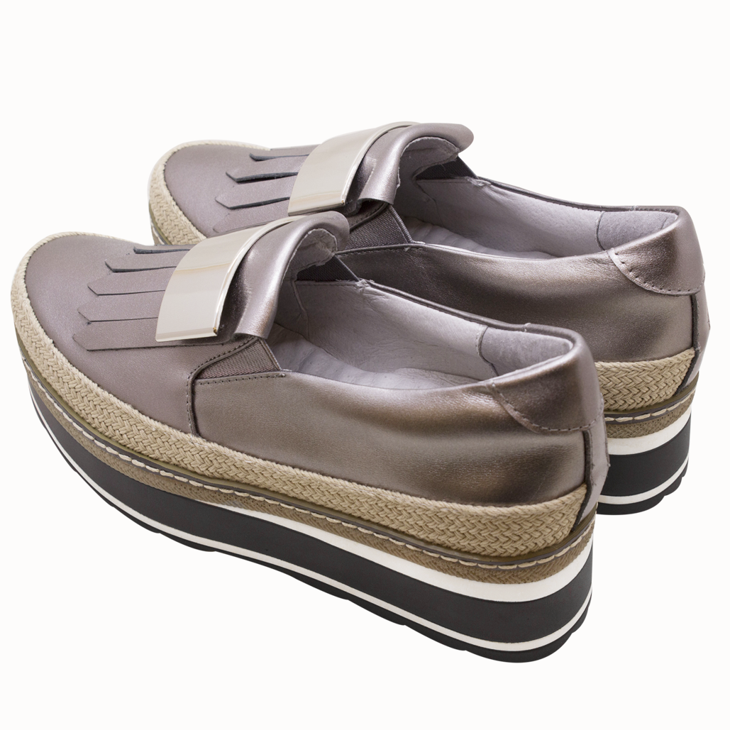 小牛皮流蘇厚底草編鬆糕鞋