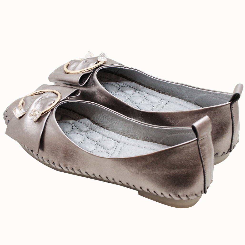 C字釦蝴蝶結小羊皮平底鞋