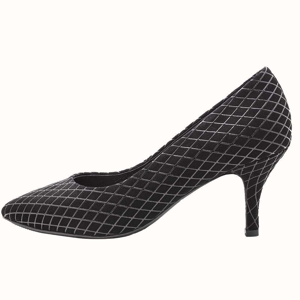 小牛皮特殊菱格紋滴膠氣墊3吋跟鞋