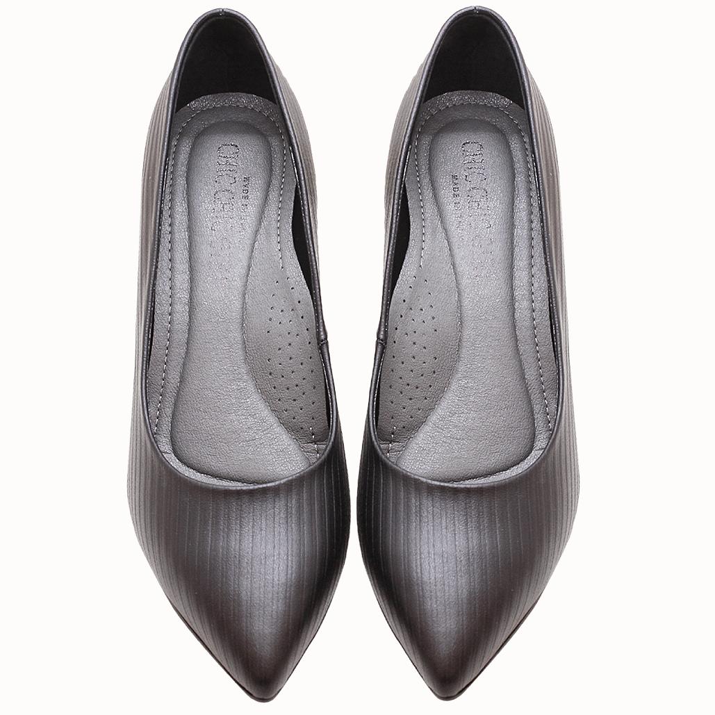 小牛皮特殊壓紋氣墊三吋跟鞋