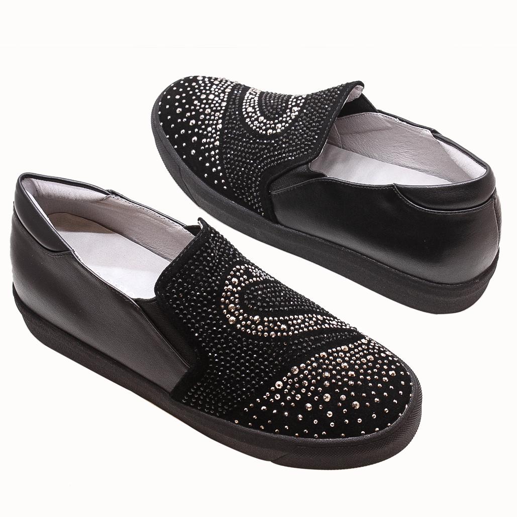 小牛皮天鵝水鑽氣墊後增高休閒鞋
