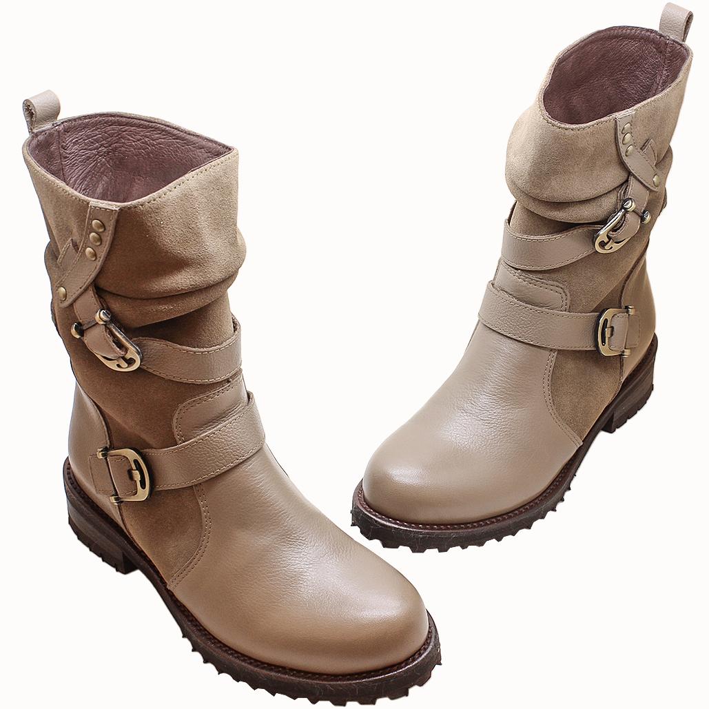 個性拼接牛麂皮釦環長靴