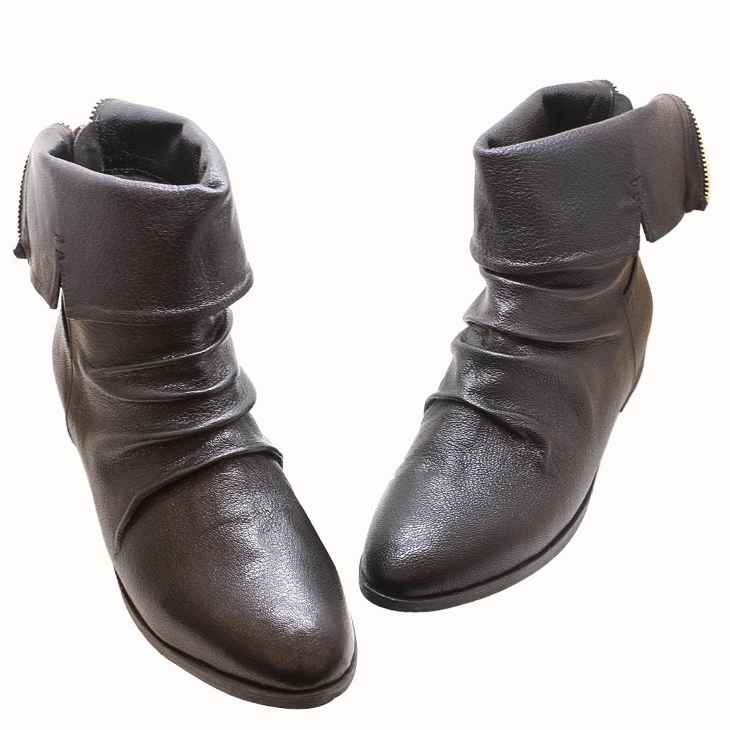 帥氣反折兩穿小牛皮哈雷低跟皮靴