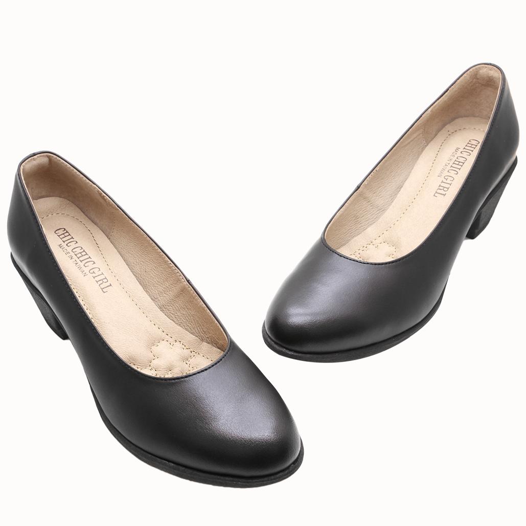 基本款OL小牛皮氣墊中粗跟鞋