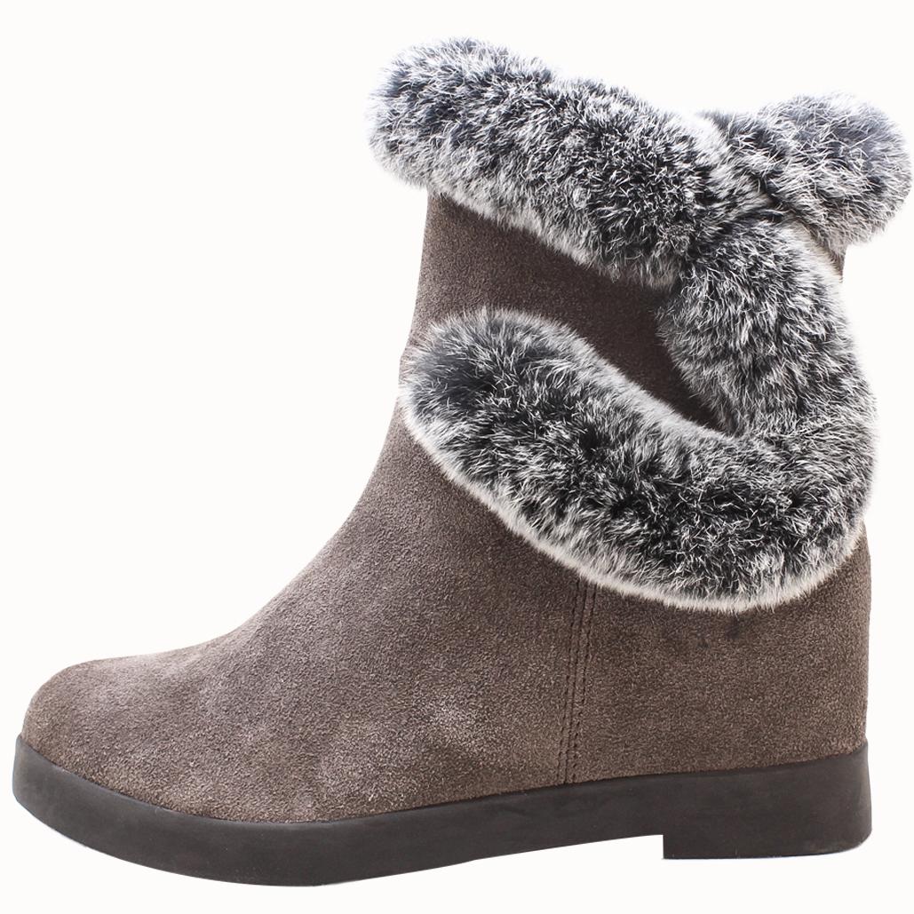 毛絨牛麂皮內增高楔型靴