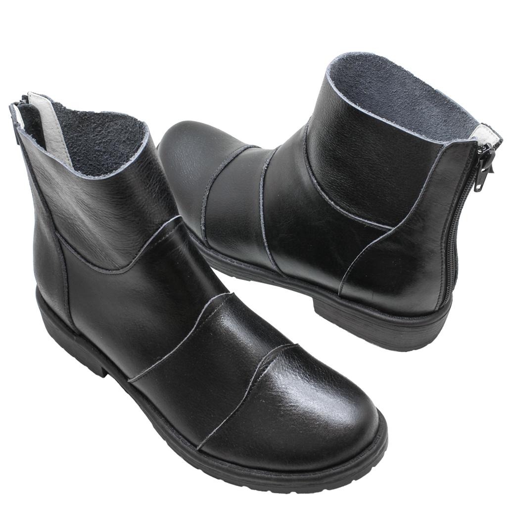 小牛皮拼接後拉式平底短靴