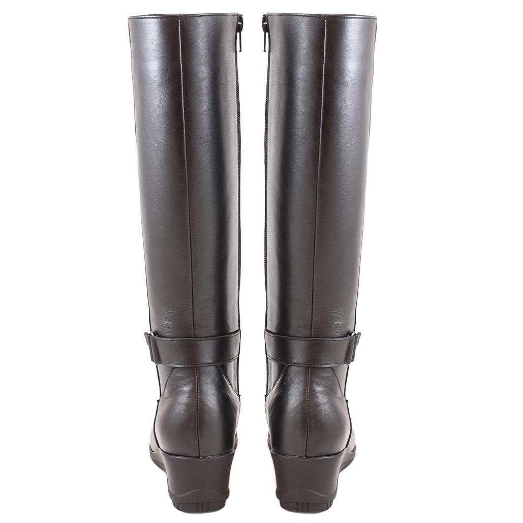 義大利頂級軟牛皮側拉式楔型長靴