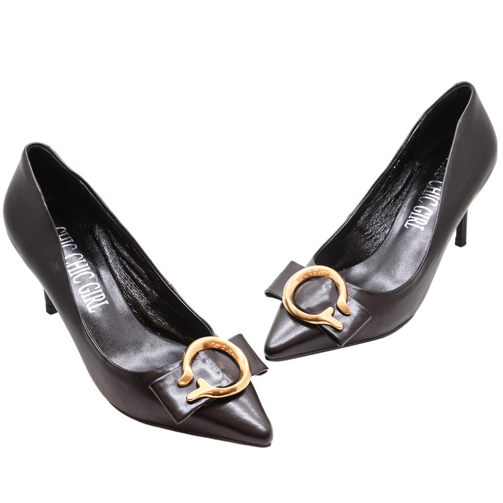 小牛皮蝴蝶結尖頭三吋跟鞋