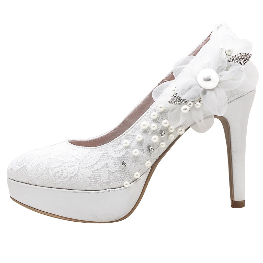 頂級手工蕾絲水鑽珍珠婚鞋