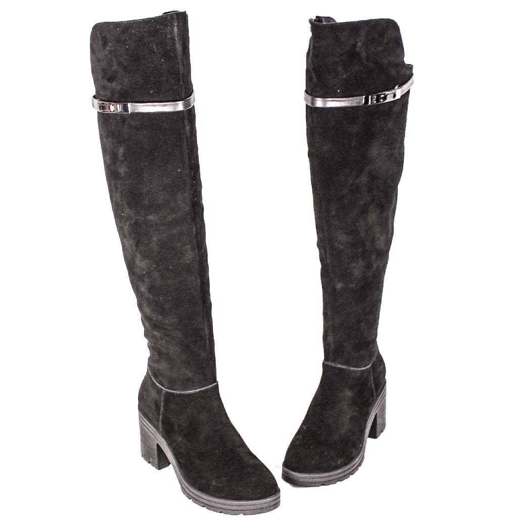 百搭款牛麂皮過膝厚底粗跟長靴