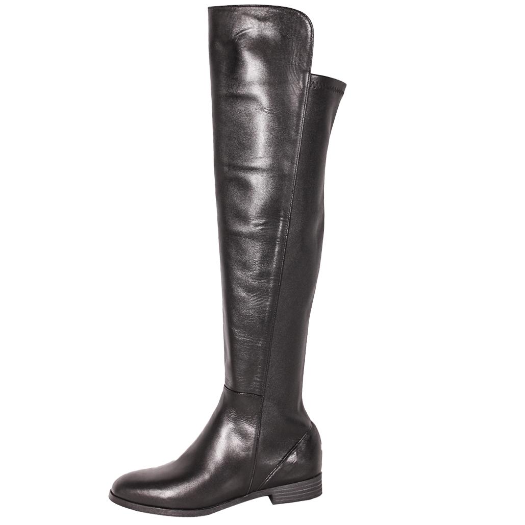 輕量化拼接彈力小牛皮低跟過膝長靴