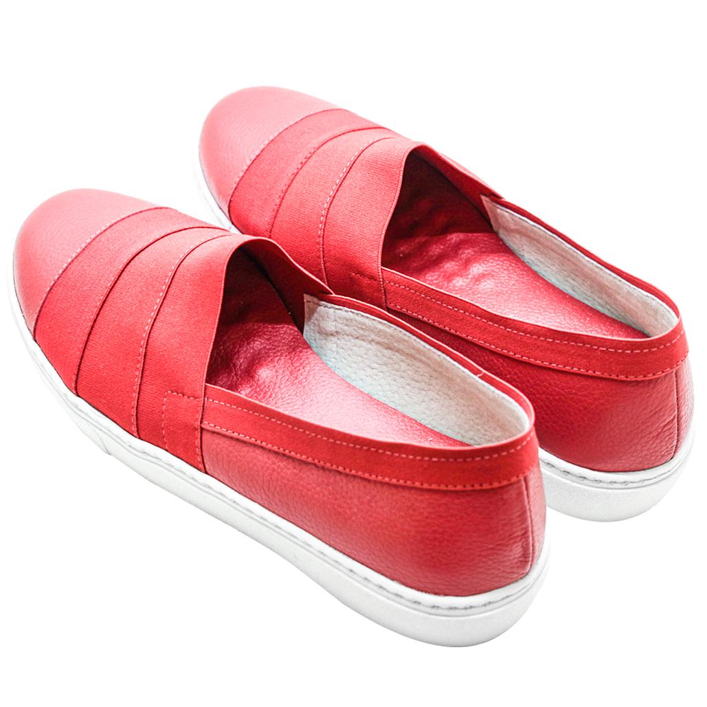 小牛皮彈性繃帶造型厚底休閒鞋