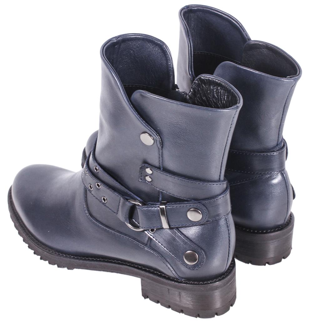 龐克風頂級小牛皮環釦側拉式中靴