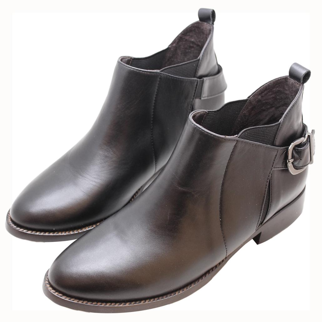 小牛皮素面雀爾希平底短靴