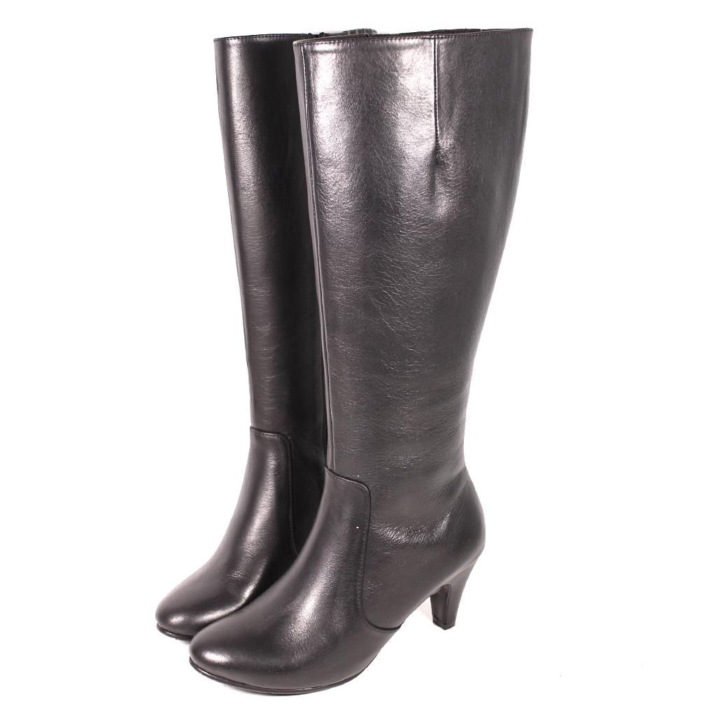 時尚小牛皮素面三吋細跟長靴