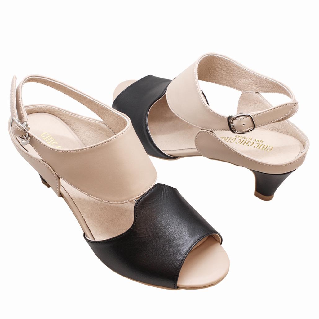 香奈兒風時尚撞色小羊皮中跟涼鞋