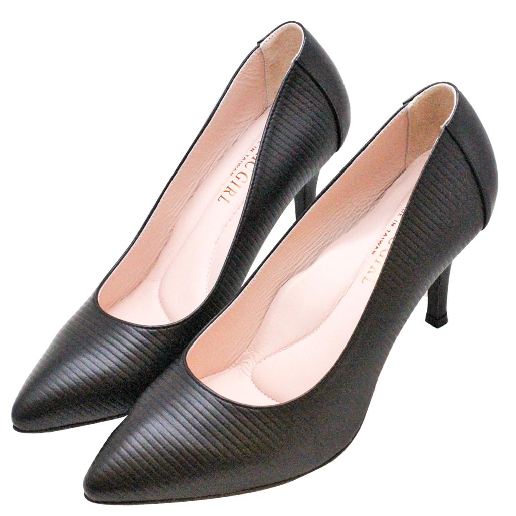 時尚尖頭橫條壓紋小羊皮高跟鞋