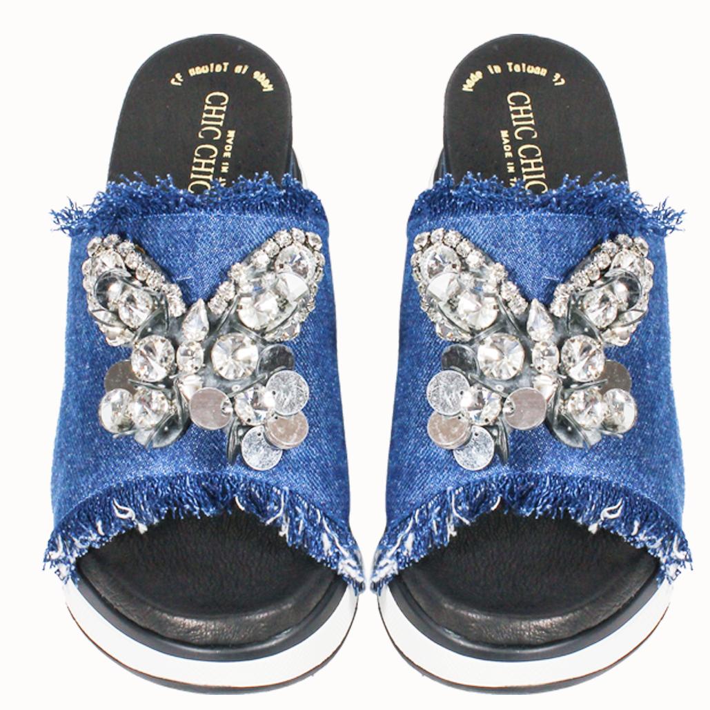 時尚蝴蝶造型手工刺繡單寧增高氣墊拖鞋