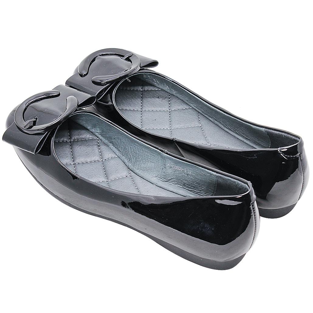 時尚蝴蝶結羊漆皮平底鞋