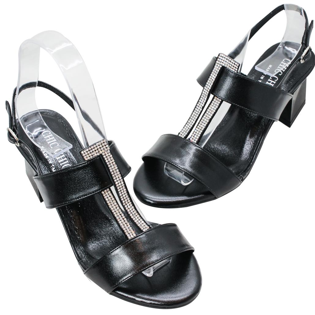 義大利頂級小羊皮水鑽中跟涼鞋
