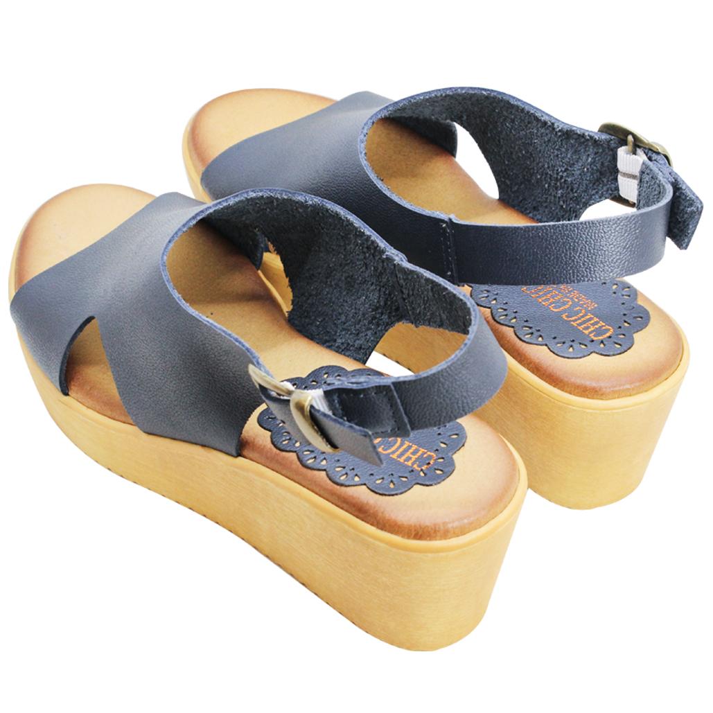 時尚小牛皮挖洞楔型涼鞋