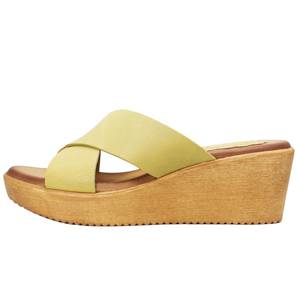 小牛皮交叉厚底楔型涼鞋