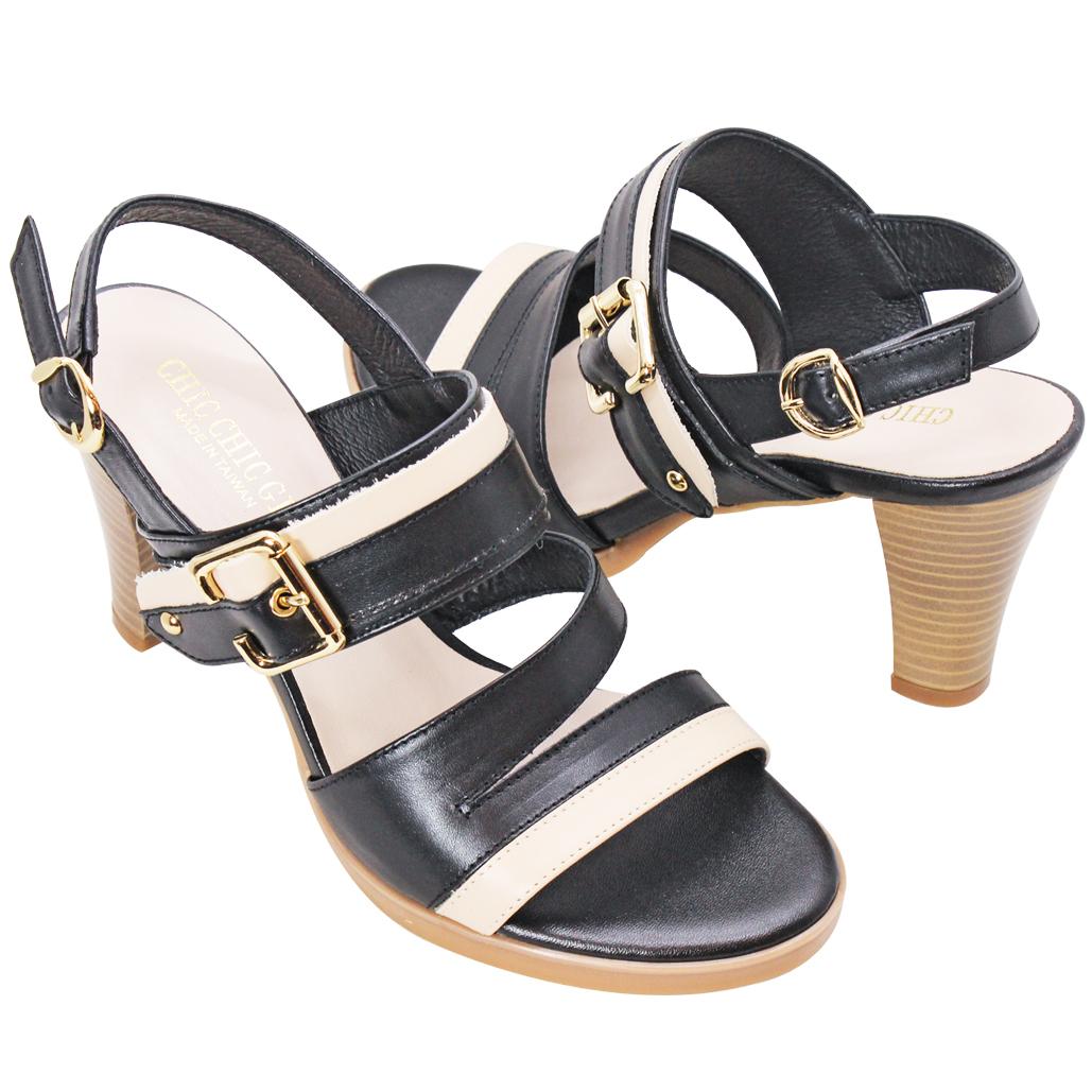 時尚歐美風小羊皮三吋細跟涼鞋
