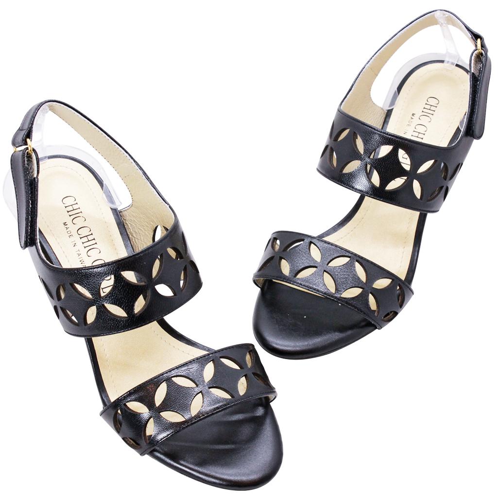 LV精品風小羊皮造型雷雕粗跟涼鞋