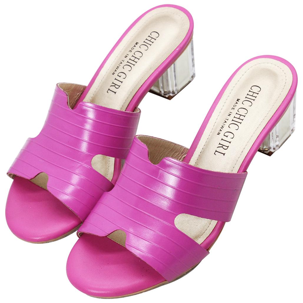 時尚小羊皮特殊壓紋水晶粗跟涼鞋